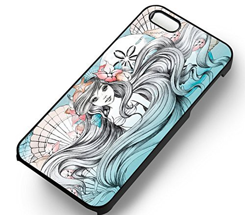 Unique Ariel Little Mermaid Art pour Coque Iphone 5 or Coque Iphone 5S or Coque Iphone 5SE Case (Noir Boîtier en plastique dur) Y2L6TS