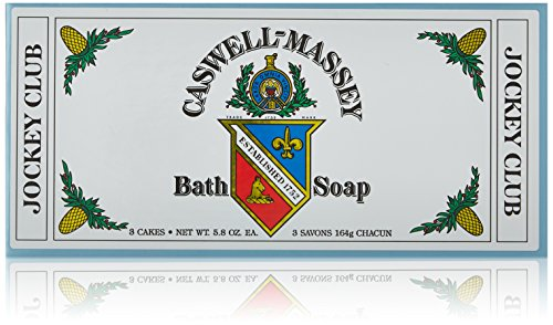 Caswell-Massey Triple Milled Jockey Club Luxury Bath Soap Set - Distinctive Fragrance - 5.8 Ounces Each, 3 Bars made in Rhode Island