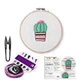 Full Set of Handmade Embroidery Starter Kit with Partten Cross Stitch Kit Including Embroidery Cloth,Bamboo Embroidery Hoop, Color Threads, and Tools Kit for Beginner