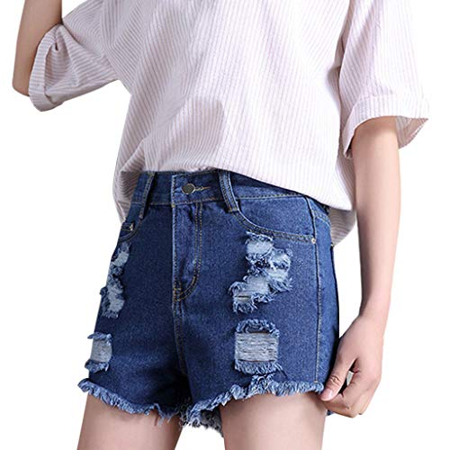 BBesty Save 15% Women's Fashion Soild Color High Waist Washed Curled Edge Denim Shorts Mini Jeans Shorts Pants