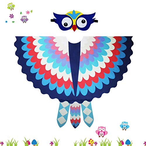 ids Fairy Owl Costume Bird Wings Feathered with Mask - Boys Girls Animal Dress-up Cosplay Cape (#1 Blue-red) ()