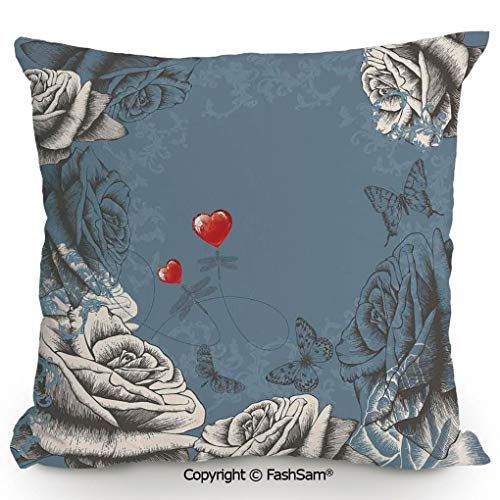 FashSam Throw Pillow Covers Grunge Rose Petals and Butterflies Red Hearts Love Valentines Vintage Design for Couch Sofa Home Decor(24
