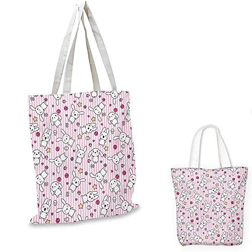 Doodle small clear shopping bag Loveable Bunnies Numerous Facial Expressions Smiling Winking Sleeping Determined sloth shopping bag Pink Baby Pink. 12
