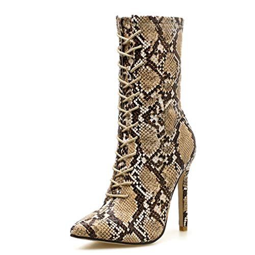 Women's Lace-Up Boots Snake Print High Heels Fashion Pointed Toe Ladies Sexy Ankle Boots