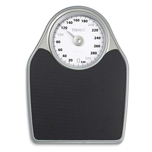 Dial Platform Scale - Thinner Extra-Large Dial Analog Precision Bathroom Scale, Analog Bath Scale - Measures Weight Up to 330 lbs.