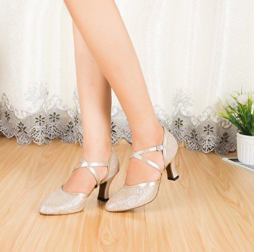 Miyoopark Donna Scarpe Chiuse Glitter Salsa Tango Scarpe Da Ballo Latino Scarpe Da Sposa Sposa Tacco Champagne-7cm