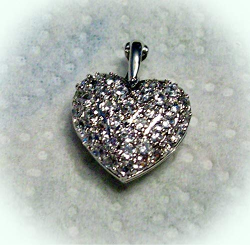 Sterling Silver 20x15x8mm Heart Clear Crystal Cutout Locket Charm Vintage Crafting Pendant Jewelry Making Supplies - DIY for Necklace Bracelet Accessories by CharmingSS
