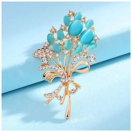 MIXIA Fashionable Clear Rhinestone Brooches Pink Blue Fire Opal Stone Flower Brooches Pin for Women Girl Garment Accessories Christmas Birthday Gift (Blue)
