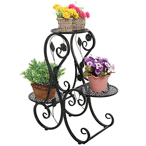 Decorative Black Metal Scrollwork & Leaf Design 3 Tier Potted Plant Stand / Flower Pot Holder Display