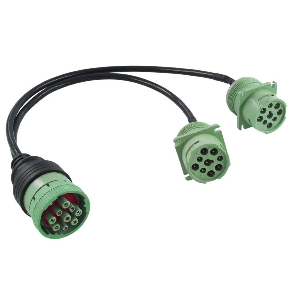 Dalagoo J1939 Splitter Cable 9pin Type2 Deutsch Green Connector Molded SAE J1939 Y Cable Female to Double Male Braided Shielded for Truck Diagnostics