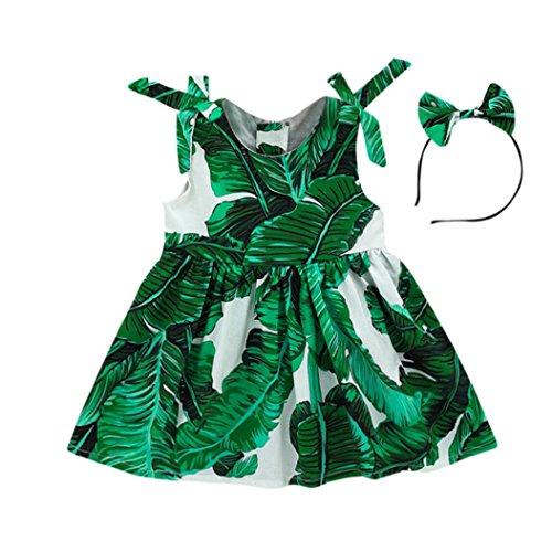 Toddler Baby Girls Leaves Print Sleeveless Straps Dress+ Headband Princess Party Beach Sundress (Green, 18-24 Months)