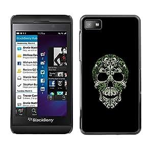 Caucho caso de Shell duro de la cubierta de accesorios de protección BY RAYDREAMMM - Blackberry Z10 - Skull Bling Nature Silver Green Skeleton