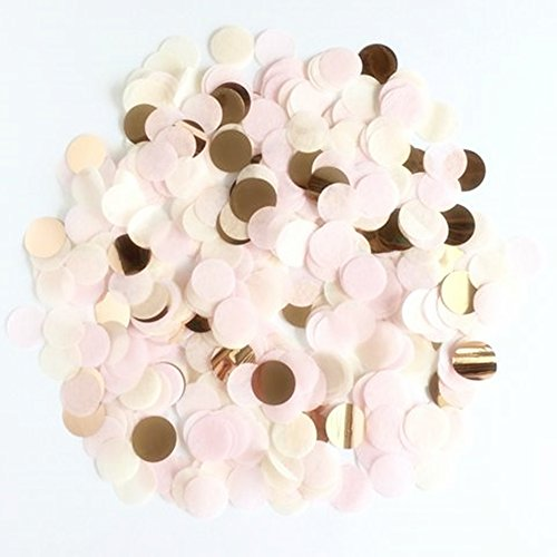 StarParty Confetti Circles 1inch Wedding Sprinkles Birthday Party Decoration (Rose Gold Confetti)