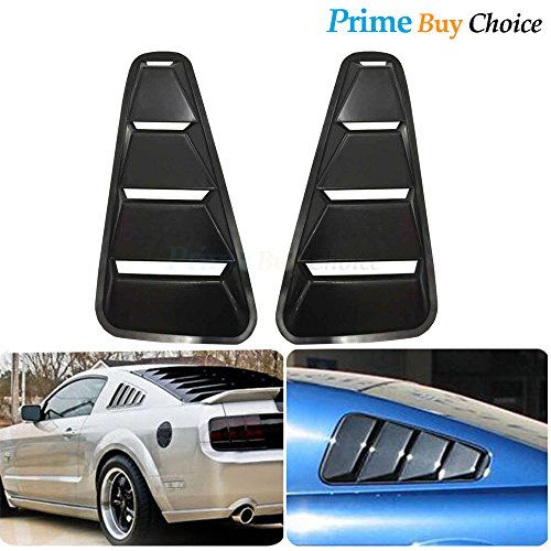 Prime Buy Choice 2pcs Black ABS Plastic Retro Style Side Quarter Window Louvers For 05-14 Ford Mustang 2-Door Coupe Only 09 Mustang Quarter Window