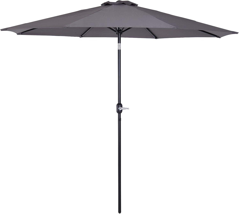 Outsunny Parasol Grande de Jardín Sombrilla para Exterior Desmontable Ángulo Regulable y Manivela de Apertura Fácil Φ300x245cm Gris