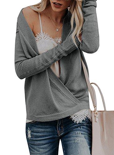 Women's Deep V Neck Pullover Sweaters Cross Wrap Long Sleeve Surplice Ribbed Kint Jumper Tunic Tops ()