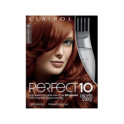 Clairol Perfect 10 By Nice 'N Easy Hair Color Kit, 1 Count, 006R Light Auburn Color, Includes Comb Applicator, Lasts Up To 60 Days
