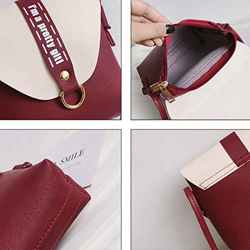 Mini Vin Femmes mobile main bandoulière en Greetuny Rouge sac à sac phone à sac à du sac cuir messenger bandoulière UqwFdTZ