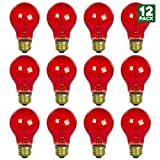 12 Pack of Sunlite 25 watt Transparent Red Colored Incandescent Light Bulb - Parties, Decorative, and Holiday 2,000 Average Life Hours