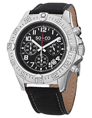(SO&CO New YorkMen's 5016.1 Yacht Timer Quartz Chronograph Date Black Leather Strap Watch)
