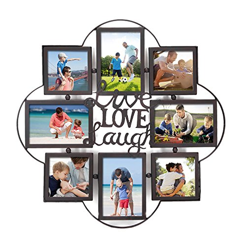 Adeco PF0628 Metal Wall Hanging Collage Picture Photo Frame, Black,