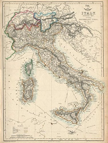 Map Of Italy Switzerland.Amazon Com Italy Switzerland Tyrol Alps Italian Unification Dower