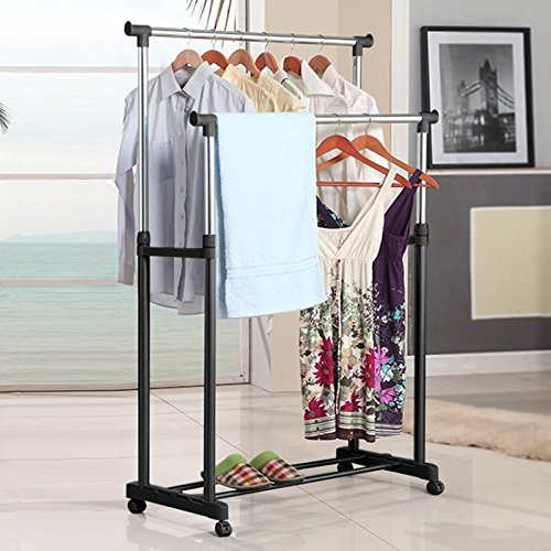 Gracelove Adjustable Double Clothes Garment Drying Hanging Racks and Shoe Rack (Black)