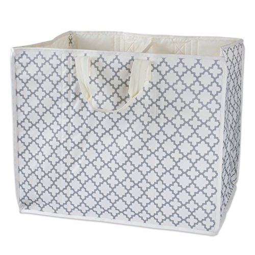 DII All-Purpose Storage Tote with Two Compartments to Divide Easy to Clean Interior, Use for Beach Trips, Laundry, Reusable Grocery Bag, as Trunk Organizer, or More (Lattice Gray) – Large