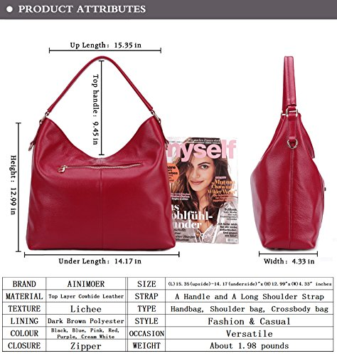 AINIMOER SALE Top Shoulder Bags Handbags Bag Purse Ladies Womens Body handle Tote Vintage BIG Cross Red Leather 5vXZqxwvd