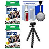 Essentials Bundle for Fujifilm Instax Wide 300 Instant Film Camera with 40 Wide Prints + Flex Tripod + Cleaning Kit