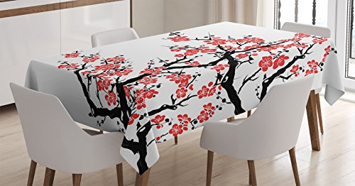 Asian Decor Tablecloth by Ambesonne, Plum Tree Blossoms Japanese Spring Traditional Festival Seasonal Celebration, Dining Room Kitchen Rectangular Table Cover, 60 X 90 Inches by Ambesonne