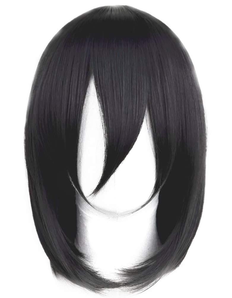 achat Mesky Cosplay Accessoire Perruque Anime Attaques des Titans Mikasa Ackerman Wig à Frange Court Droite Noir Femme Fille Adulte Unisexe pas cher prix