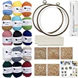 Wool Queen Punch Needle Beginner DIY Kit, 1 Punch Tool /15 Colors Yarn/Two 8.4'' Hoops & Monk's Cloth and 5 Design Patterns
