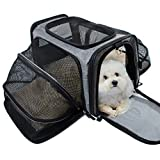 Cheap Pet Carrier for Dogs & Cats – Airline Approved Expandable waterproof Soft Animal Carriers -Portable Soft-Sided Air Travel Bag- Eco-friendly material Roomy With a Side Pocket and a Fleece Bed