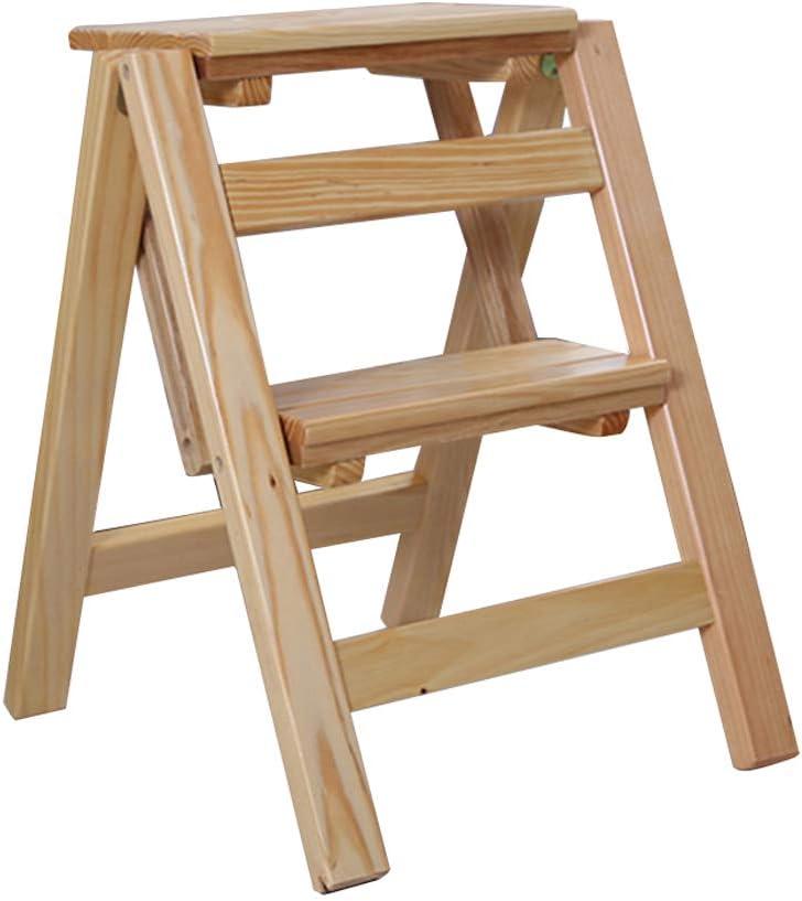 Escalera del Taburete Plegable de 2 Bandas de Rodadura, Escalera de hogar Silla de Comedor portátil Taburete de Madera para niños y Adultos, Herramienta de huerto doméstico Máx. Altura 200kg: 45cm.: Amazon.es: