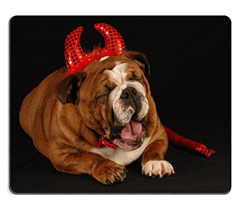MSD Natural Rubber Gaming Mousepad IMAGE ID: 4134375 english bulldog dressed up as a devil on a black background (Bulldog Horn compare prices)