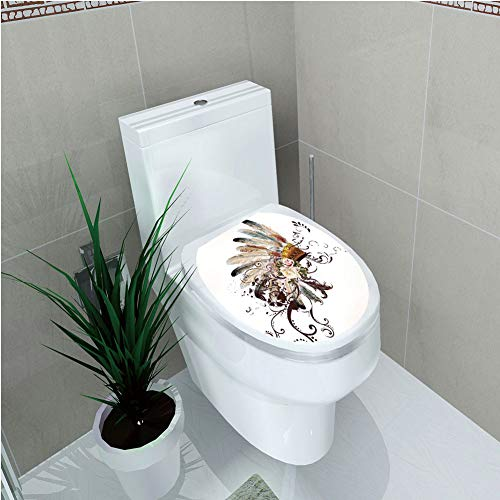 Toilet Cover Decoration,Feather,Native American Symbol with Floral Arrangements Head Wear Flowers Swirls Shapes Decorative,Multicolor,3D Printing,W12.6