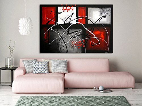 (maze)Hand made Modern Abstract red Painting, Black and white, Abstract Art Canvas Abstract Art, Original Canvas Art, gray Abstract wall Art by Fchen Art