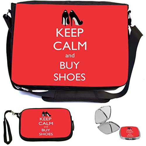 Rikki Knight Keep Calm and Buy Shoes Design COMBO Multifunction Messenger Laptop Bag - with padded insert for School or Work - includes Wristlet & Mirror