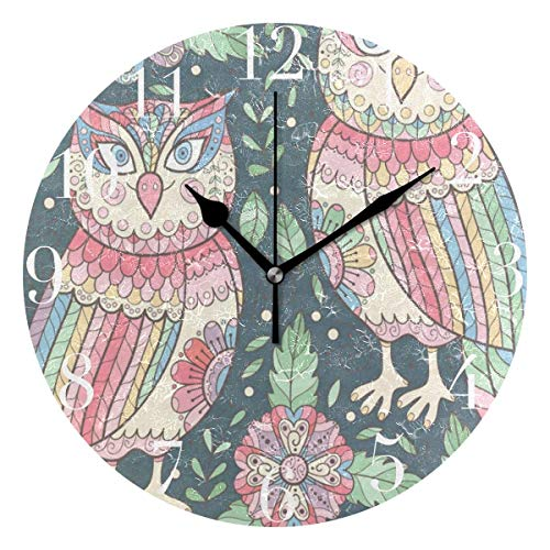 - Dozili Cute Flower Owls Round Wall Clock Arabic Numerals Design Non Ticking Wall Clock Large for Bedrooms,Living Room,Bathroom