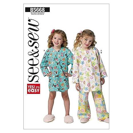 Butterick Patterns McCalls Patterns B5668 - Patrón para pijamas infantiles de niña (tallas 31,