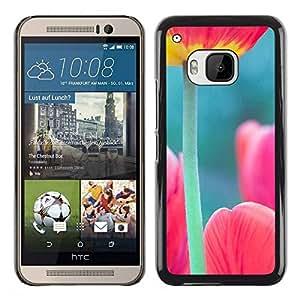 PC/Aluminum Funda Carcasa protectora para HTC One M9 tulip poppy green pink spring nature / JUSTGO PHONE PROTECTOR