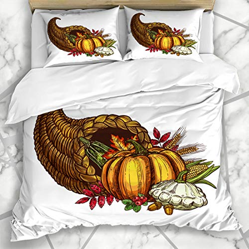 Ahawoso Duvet Cover Sets King 90x104 Fruit Abundance Thanksgiving Day Cornucopia Autumn Harvest November Sketch Holidays Acorn America Microfiber Bedding with 2 Pillow -