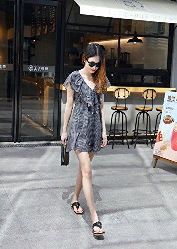 Plates Chaussures XIAOQI Métal Taille Nouveau Casual Femmes Sandales Pantoufles Confort Noir Grande 2018 AUvqzaA