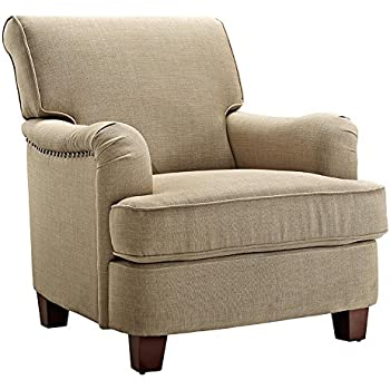Dorel Living Rolled Top Club Chair With Nailheads, Oatmeal