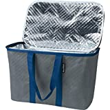 CleverMade SnapBasket Thermo 30 Liter Reusable Tote Bag with Reinforced Bottom: Collapsible Grocery Shopping Basket, Charcoal/Navy