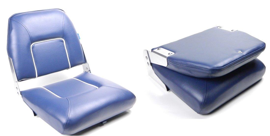 Bootssitz Steuerstuhl Klappsitz Weiß & Blau, klappbar, für viele Drehscheiben und Drehkonsolen wellenshop