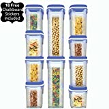 Shazo Food Storage Containers 20-Piece Set - Airtight Dry Food Container w/ Innovative Dual Utility Interchangeable Lid, FREE Chalkboard Labels. One Lid Fits All Containers, Freezer Safe, Space Saver