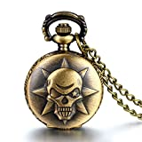 """JewelryWe Christmas Gift - Vintage Locket Pocket Watch Pendant with Anime Cross Fire Kito Skull Design Quartz Long Chain Necklace 31.5"""" (with Gift Bag)"""