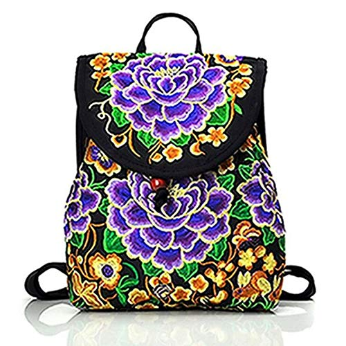 (2018 Women's Embroidered Floral Print Backpack School Bag Travel Satchel Rucksack National Girl Lady 6 Color Fashion)